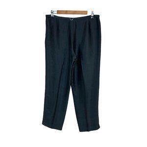 Kay unger black silk pants 10 Zip Closure